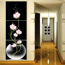 painting for home decoration 3 panel free shipping hot sell beautiful pink flower modern wall