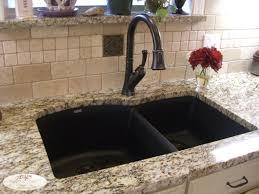 composite granite double bowl sink orb delta faucet travertine