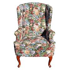 Queen Anne Wingback Chair Queen Anne Style Floral Wingback Chair Ebth