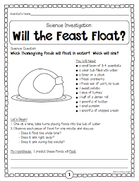 thanksgiving science a feast of five investigations k 3