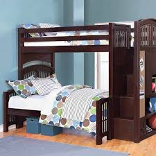 Twin Bunk Beds With Mattress Included Columbia Full Over Staircase Bunk Bed Antique Walnut Image On