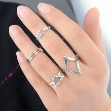 finger rings fashion images Fashion punk gold geometric triangle mid finger rings fashion wild jpg