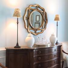 Lamps For Dining Room Buffet by Round Mirror In Dining Room Buffet Lamps Pale Blue Walls
