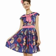Ariana U0027 Navy Masquerade Print Swing Dress Vintage Inspired