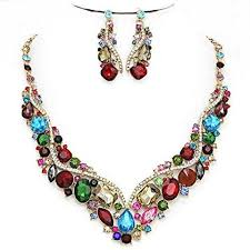 multi colored necklace images Affordable jewelry multi color clear austrian crystal post jpg