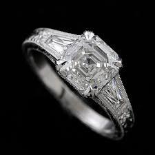platinum unique art deco style hand engraved engagement ring