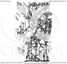 clipart mayan warrior or king holding out a hand black and white