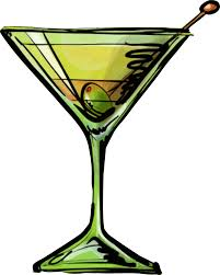 martini glass with olive martini glass clipart