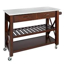 rolling kitchen island marble top espresso 2 drawer rolling kitchen island