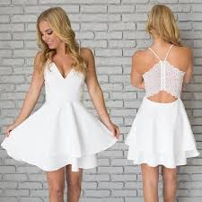 white dresses simple white two pieces v neck prom dress white homecoming