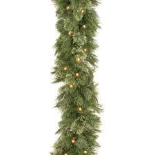 9 x 10 pre lit wispy willow artificial garland