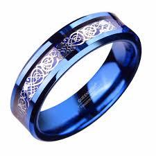 dragon wedding rings images 6mm blue tungsten ring sliver color celtic dragon wedding bands jpg