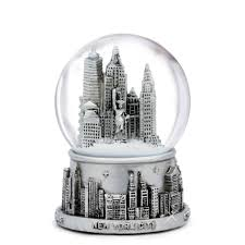 silver skyline new york city snow globes from nyc 3 5 inches