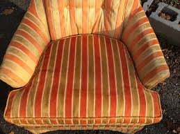 Striped Accent Chair Mid Century High Back Orange Striped Accent Chair Attainable Vintage