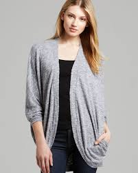 Cocoon Sweater Cardigan Three Dots Cocoon Cardigan With Pockets In Gray Lyst