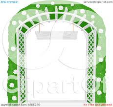 clipart of a white lattice garden trellis arch with a flowering