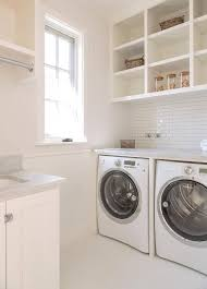 Countertop Clothes Dryer White Laundry Room With White Mini Brick Tiles Transitional