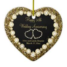 50th wedding anniversary christmas ornament heart shaped 50 year ceramic decorations heart shaped 50 year