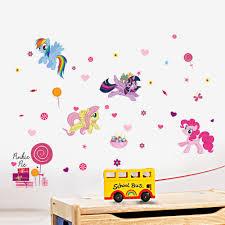 aliexpress com buy 3d cartoon my little pony flower wall aliexpress com buy 3d cartoon my little pony flower wall sticker kids room girls room bedroom home decor pvc vinyl wall decal wallpaper mural art from