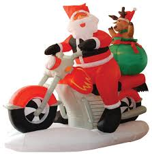 Outdoor Christmas Decorations Santa Claus by Inflatable Motorcycle Santa Claus With Reindeer 6 U0027 Contemporary