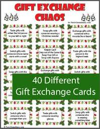 gift exchange includes a variety of gift exchange cards and