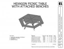 hexagon picnic table building plans blueprints diy do it yourself