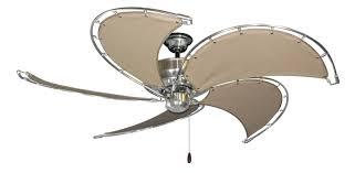 nautical outdoor ceiling fans raindance brushed steel ceiling fan w khaki fabric blades nautical