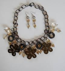 necklace set crystal images Wooden flowers and crystal drops necklace set michele maher designs jpg