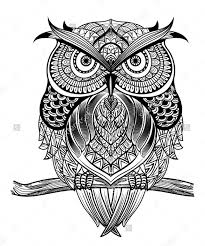 Patterned Flying Owl Drawing Illustration Pin By Detwiler On Ideas Owl Zentangles