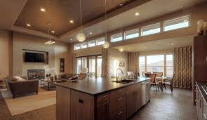 decorating ideas for open concept living room and kitchen brown