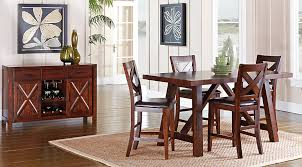 Rooms To Go Kitchen Furniture Mango Burnished Walnut 5 Pc Counter Height Dining Room Dining