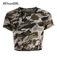 army pattern crop top heyoungirl camouflage army green sexy t shirt for womens short