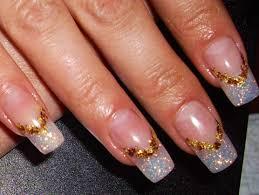clear glitter gel nails v shaped bronze foil nail art nail design