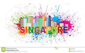 singapore city skyline paint splatter vector illustration stock