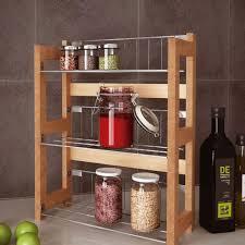 3 tier bamboo kitchen spice jars rack holder shelves storage unit