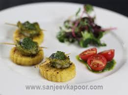canapes with prawns how to polenta prawn canape recipe by masterchef sanjeev kapoor
