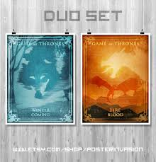 clearance sale 50 duo poster game of thrones tv poster set