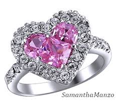 Pink Wedding Rings by Heart Cut Pink Ice Cz Diamond Pave Set Cocktail Wedding Ring