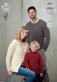 king cole 4551 knitting patttern family sweaters in king cole