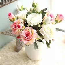 fake flowers for home decor amazon com artificial flowers fake flowers silk 9 heads roses
