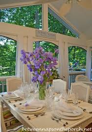 spring and summer table setting tablescape with a purple iris