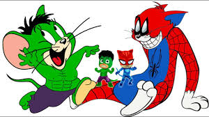 pj masks tom and jerry spider man hulk coloring pages for kids