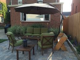Small Outdoor Table With Umbrella Hole by Patio Furniture Small Backyard Patio Cantilever Umbrella
