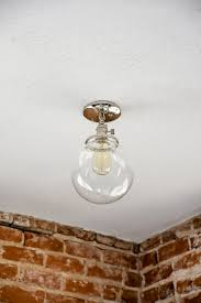 Industrial Flush Mount Lighting Free Shipping Semi Flush Solid Brass 8 Clear Glass Globe Flush