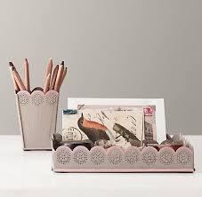 Desk Accessory Sets Scalloped Edge Desk Accessories Pencil Cup Tray Set