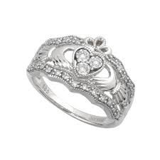 galway ring 14k white gold diamond claddagh ring fallers ie fallers