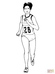 woman running marathon coloring free printable coloring pages