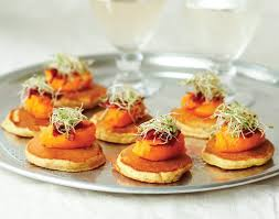 easy vegetarian canapes carrot and cumin pancake canapes vegetarian recipe