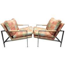 milo baughman for thayer coggin chrome flat bar lounge chairs for