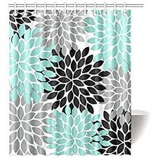amazon com black grey green dahlia floral pattern polyester